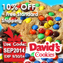 David's Cookies Back to School 2010 13% Savings