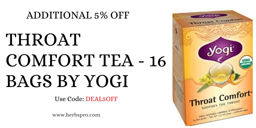 Additional 5% off on Yogi Throat Comfort Tea - 16 Bags