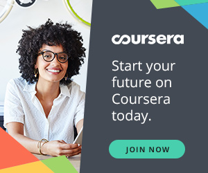 Coursera Plus New Years promo banner that says