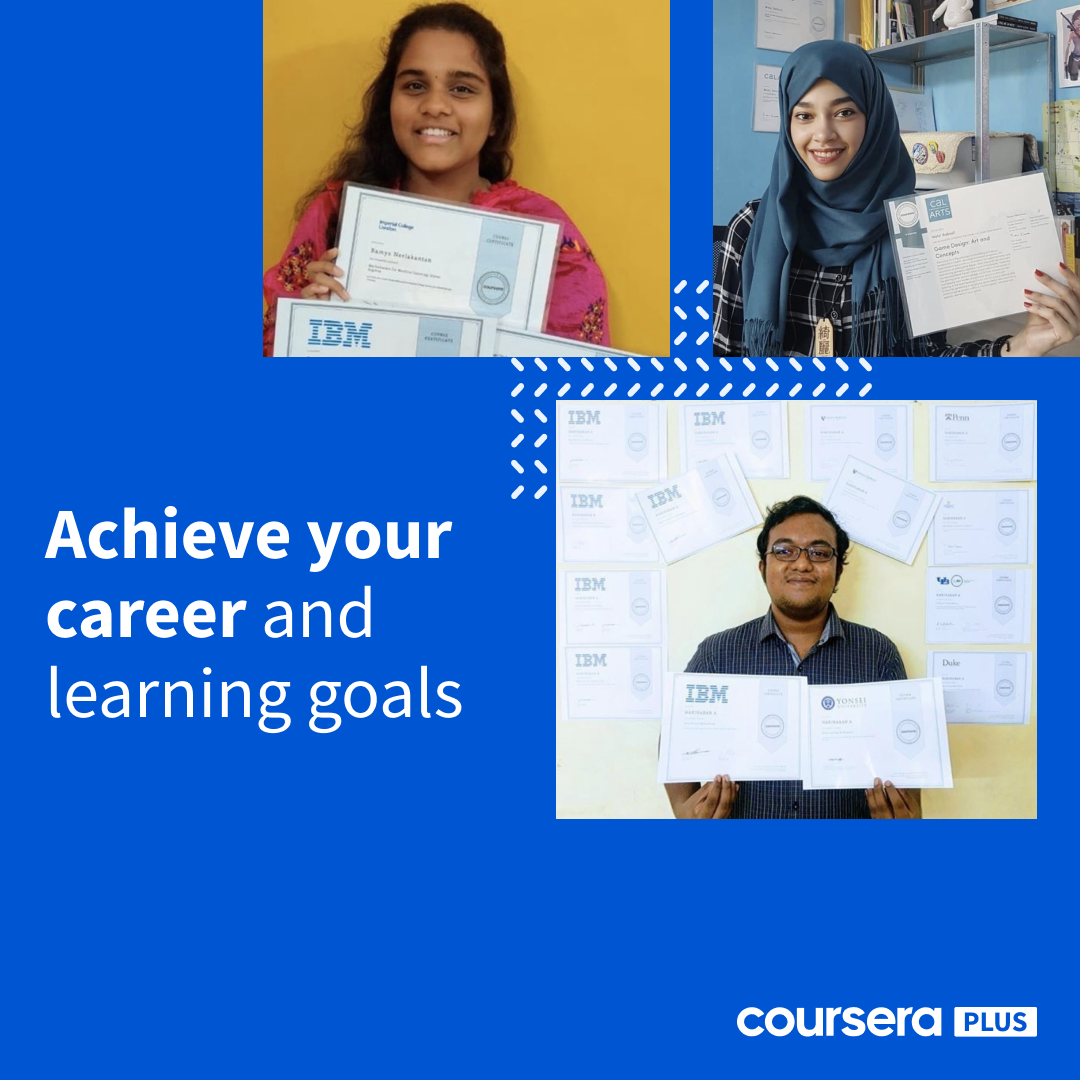 Coursera Plus banner featuring three learners on a blue background.