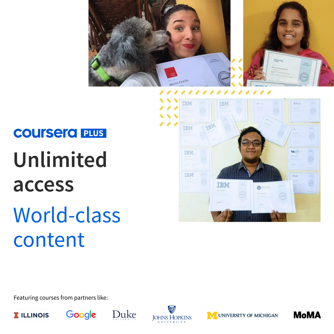 Coursera Plus banner featuring three learners and university partner logos