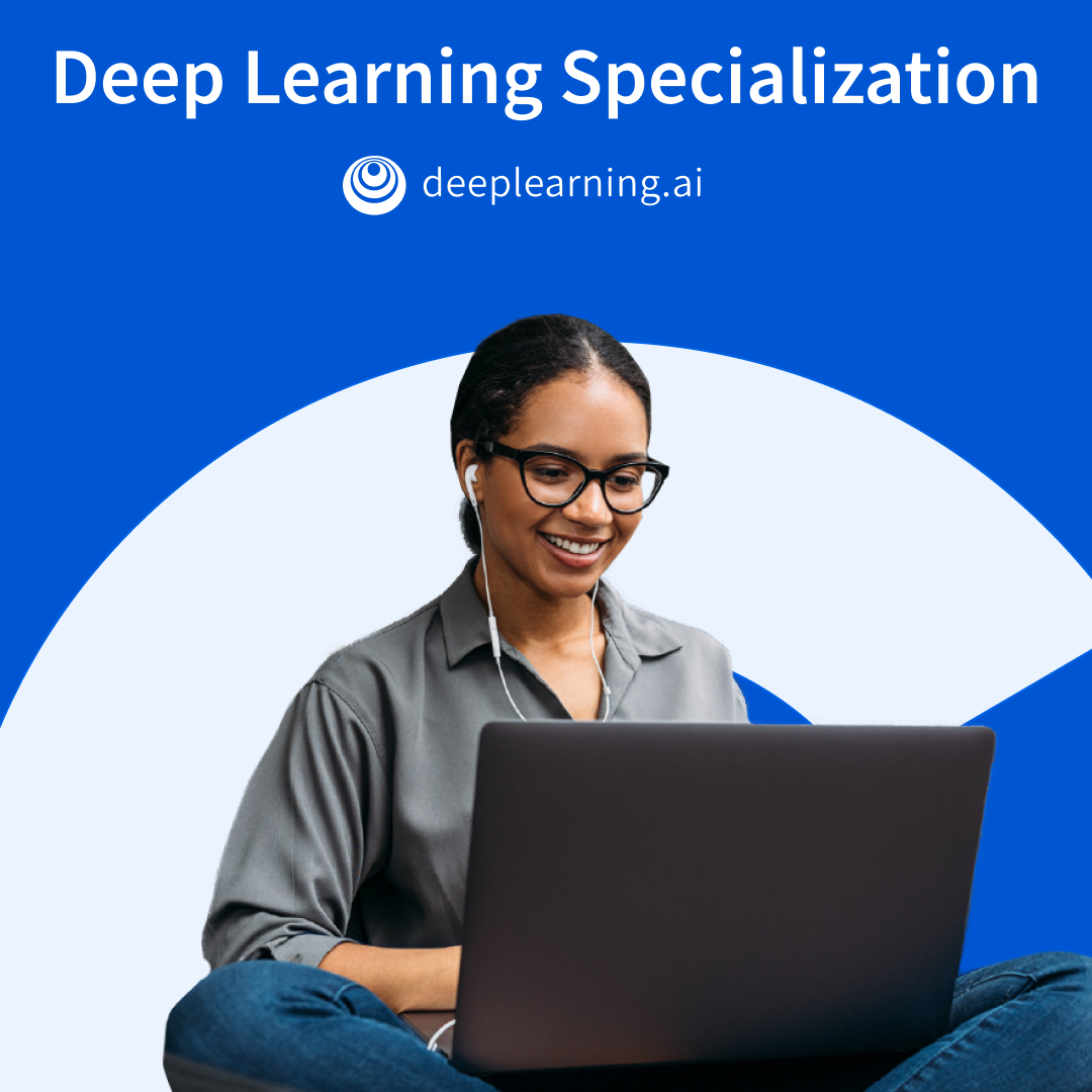 deeplearning.ai Deep Learning Specialization banner with a learner with glasses on a laptop.