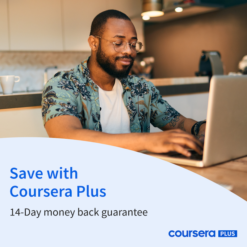 Coursera learner on his laptop featuring 14-day money-back guarantee