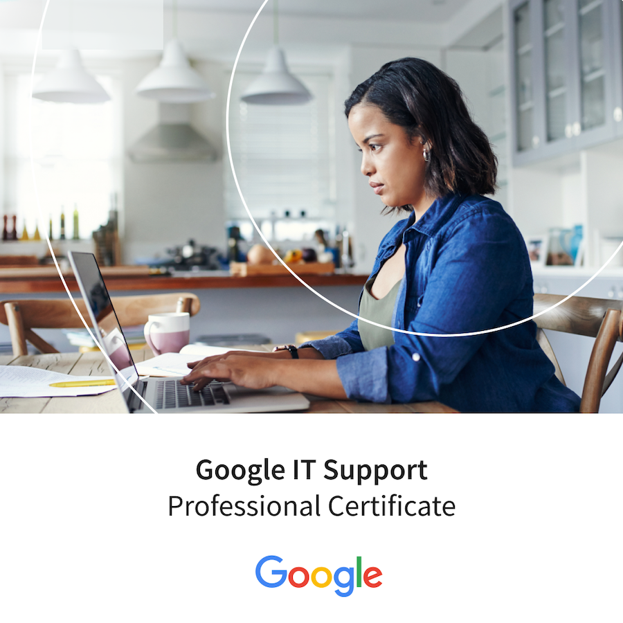 Banner for Google IT Support Professional Certificate featuring a Coursera learner on her laptop in the kitchen.