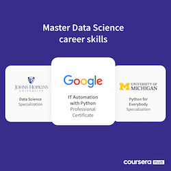 Master Data Science Career Skills featuring three data science programs from Johns Hopkins University, Google, and the University of Michigan