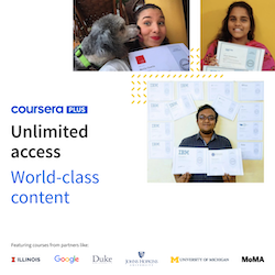 Unlimited Access, World-class content featuring three learners holding their certificates and six logos of partners like Google, Duke University, and MoMA