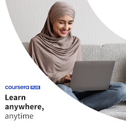 Learn anywhere, anytime with the Coursera Plus logo and featuring a learner on her laptop