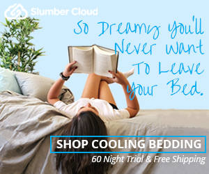 Slumber Cloud logo with woman reading in bed made with Stratus Sheets, Cirrus Pillows, and Stratus Duvet Cover.