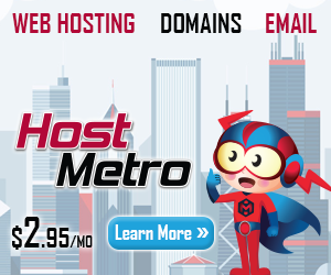 HostMetro Website Hosting Plans starting at $2.95/mo.
