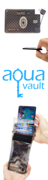 AquaVault Inc. - ChargeCard Ultra Slim Phone Charger and AquaVault 100% Waterproof Floating Phone Case